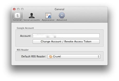 設定画面にGoogleReaderのアカウントを入力し、DefaultRSSReaderにGrumlを選びましょう。