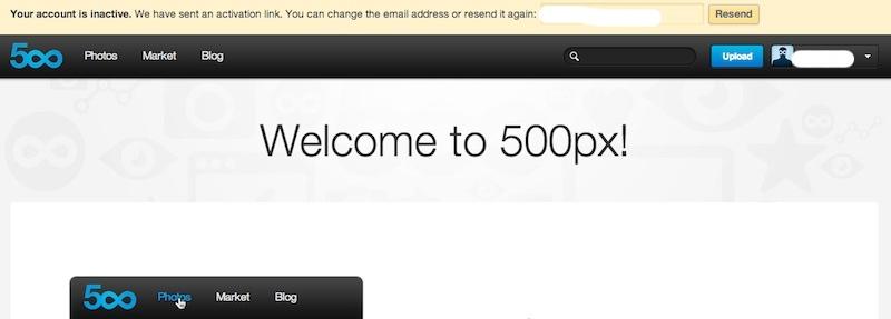 500pxアカウントインアクティブ画面
