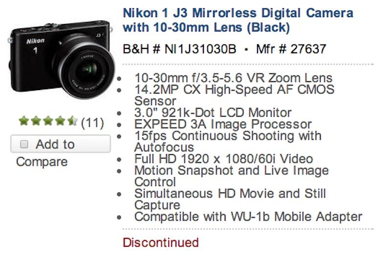Nikon1 J3 ディスコン