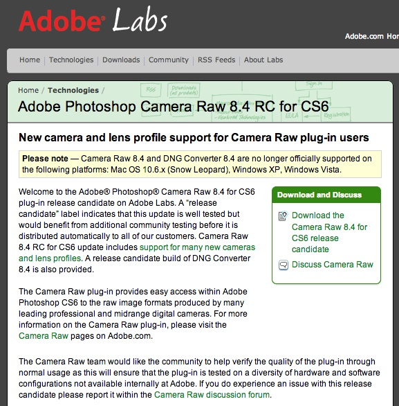 Adobe Photoshop Camera Raw 8.4 RC for CS6