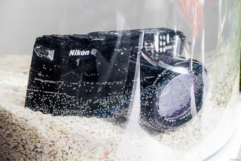 Nikon1 AW1 水槽の中