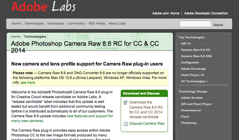 Adobe Photoshop Camera Raw 8.6 RC