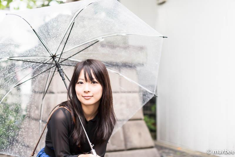 新谷るる 傘をさす
