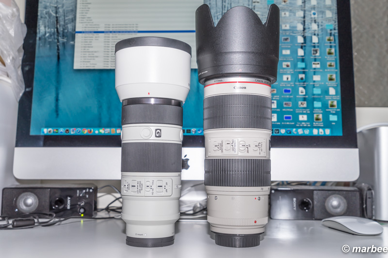 「Canon EF70-200mm F2.8L IS II USM」と「SONY FE 70-200mm F4 G OSS」の大きさを比較