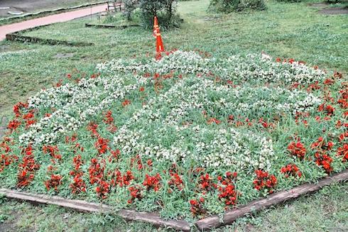花で花と書かれた花壇